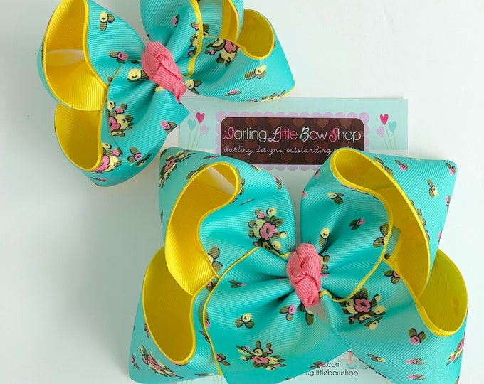 "Hairbows to match Matilda Jane Brilliant Daydream - Sweet Trip - floral bow, choose 4-5"" or 6"" bow"