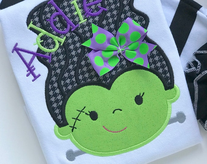 Halloween shirt or bodysuit for girls -- Monster Mash - fun Bride of Frankenstein in lime green, purple and black with name
