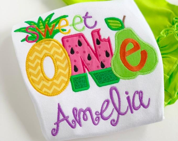 Tutti Frutti Pineapple Birthday Shirt or bodysuit for girls, Sweet ONE - Tutti Frutti - pineapple theme birthday shirt