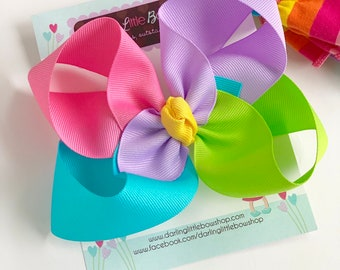 "Rainbow Bow, Bright pink, lime, turquoise and purple rainbow colors choose 4-5"" or 6-7"""