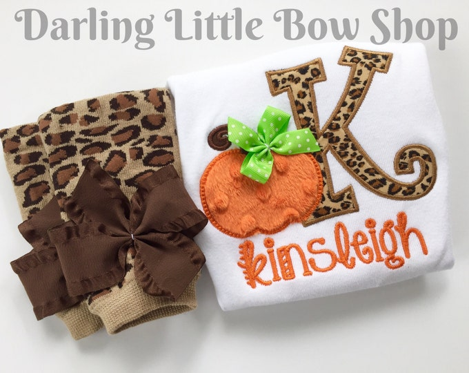 Pumpkin outfit for girls and baby girls -- Pumpkin Glam -- tan, gold and leopard print initial and pumpkin bodysuit and leg warmers