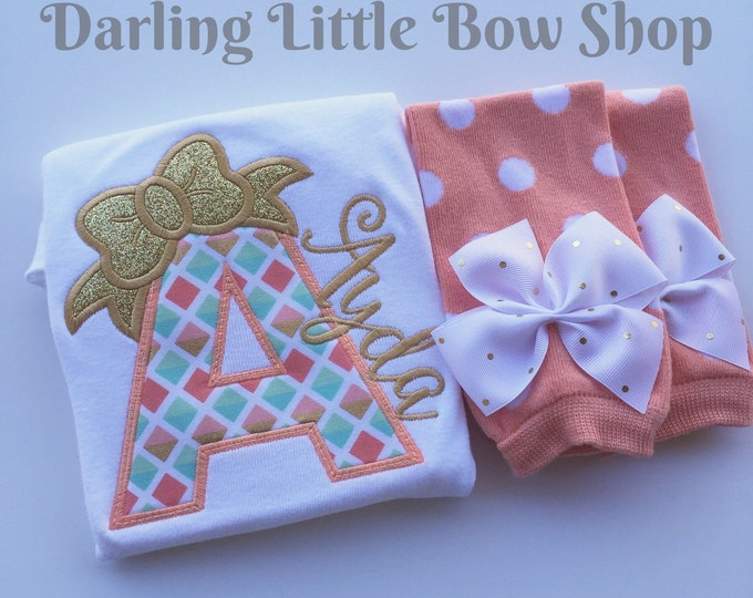 Take Home Outfit for baby girls - Peaches & Cream - personalized bodysuit and leg warmers -- peach, coral, mint and gold