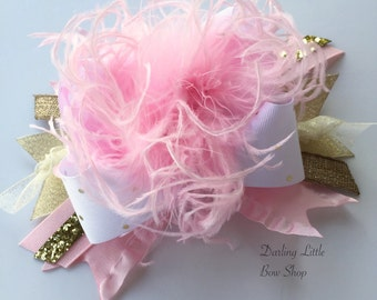 Over The Top Bow in pink and gold -- Little Miss Fabulous -- gorgeous soft pinks, gold and white with glitter and feathers