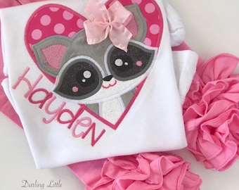 Raccoon shirt or bodysuit for girls -- Critter Cutie -- Valentine shirt in pretty pinks with her name