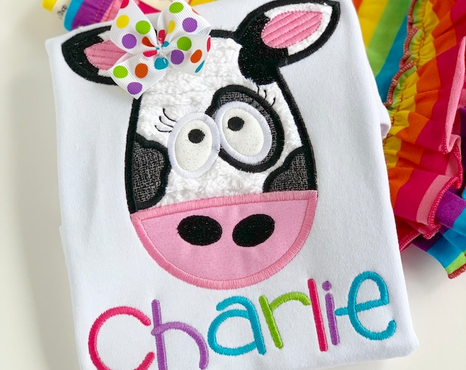 Cow Shirt or Bodysuit for Girls, silly cow shirt in rainbow colors - sizes Newborn to 12