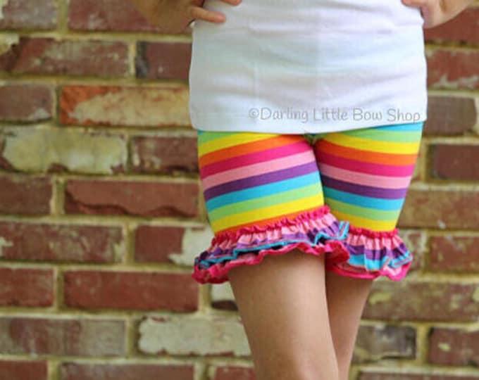 Rainbow Ruffle Shorties, Basic Ruffle Shorts - knit ruffle shorties sizes 6m to girls 10 - Free Shipping