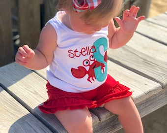 Crab Girls shirt, ruffle shirt, tank or bodysuit - Crabby but Cute - red and aqua crab beach theme for girls