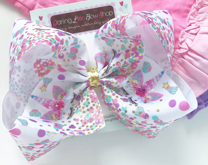 """Unicorn Bow, unicorn hairbow in pastel pink, purple, blue and gold - choose 4-5"""" or 7"""""""