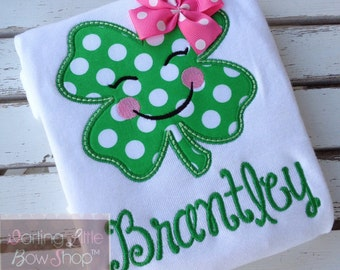 Girls St. Patrick's Day Shirt or bodysuit -- Irish Eyes are Smiling -- pretty emerald polka dot and pink shamrock with name
