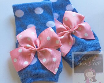Cornflower Blue Polka Dot Leg Warmers -- baby girl leg warmers in pink bows in our EXCLUSIVE color -- perfect for baby's Spring wardrobe