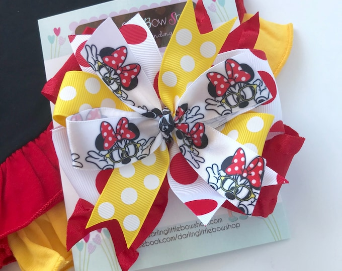 "Miss Mouse bow in red, black and yellow -- 4-5"" layered bow in fun, whimsical style"