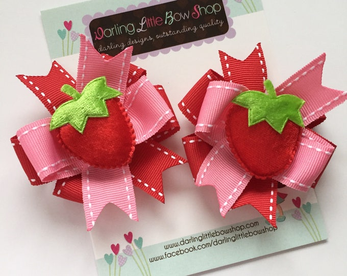 Strawberry Hairbows, Pigtail Bow Set -- Strawberry Festival --  pink, red and green pigtail bows with strawberry centers