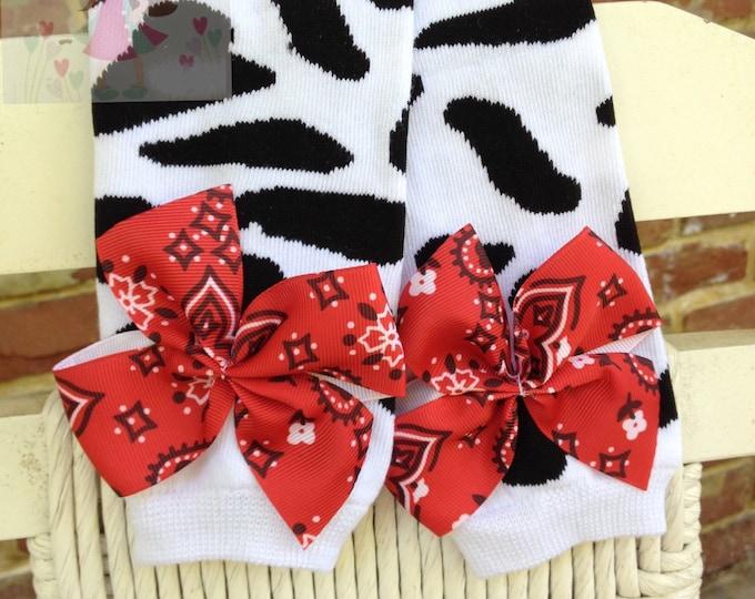 Cow Leg Warmers -- Bow Leg Warmers -- Cow print with bandana bows leg warmers -- great for a farm theme birthday or costume