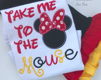 Take Me to the Mouse shirt or bodysuit-- shirt for boys or girls in red, black and yellow with Mouse or Miss Mouse ears
