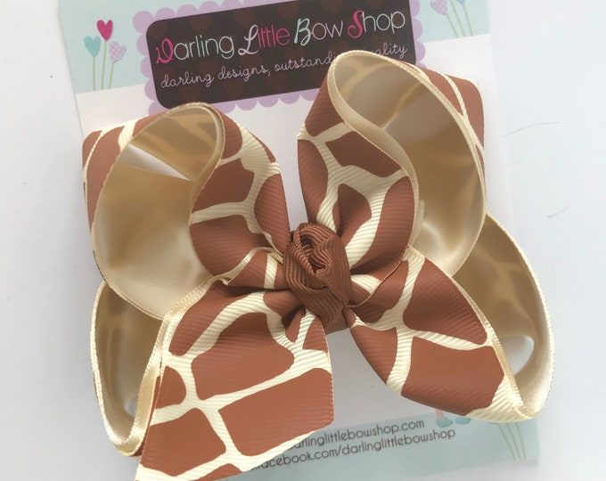 """Giraffe Bow -- beautiful boutique bow made with giraffe print ribbon in cream and brown, choose 3"""" 4"""" 5"""" or double stacked bow"""