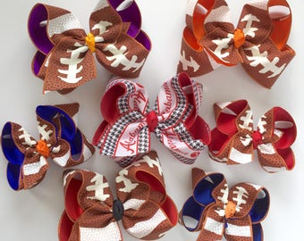 "Football bow, football hairbow -- choose your team colors, 5"" or 6-7"" bow"
