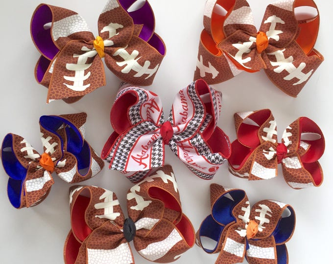 """Football bow, football hairbow -- choose your team colors, 5"""" or 6-7"""" bow"""