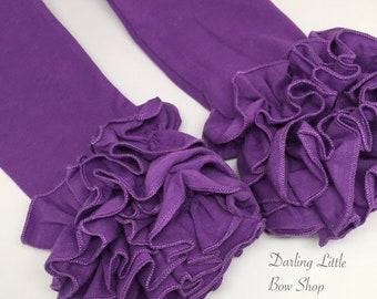 Grape Ruffle Leggings - Purple Icings Ruffle Leggings - gorgeous knit ruffle leggings - size NB to 10