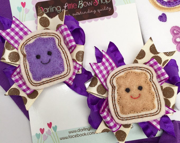 Pigtail Bow Set -- We go Together Like PB and Jelly --  peanut butter and jelly theme hair bows -- purples and tans