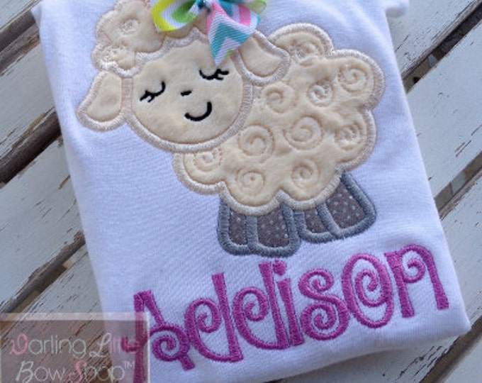 Easter Shirt or Bodysuit for girls -- Lavender Lamb -- Easter Lamb bodysuit or shirt -- lavender and cream curly wool lamb personalized