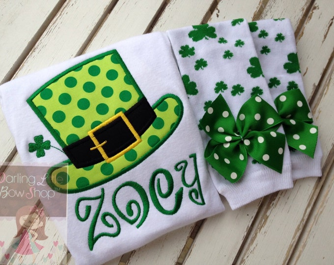 St. Patrick's Day Outfit for baby girls - Lucky Top Hat - personalized bodysuit and shamrock leg warmers - lime and emerald green