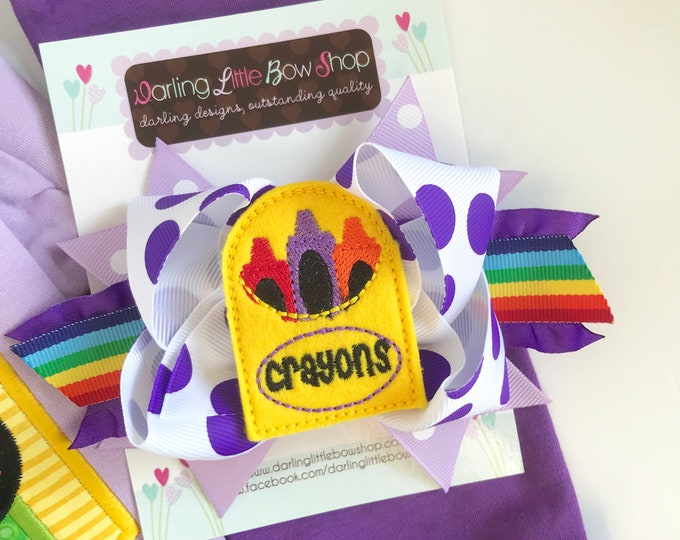 Crayon Bow - The Future Is Bright - Purple Back to School Bow - 5 to 6 inch bow in rainbow colors with crayon box centers