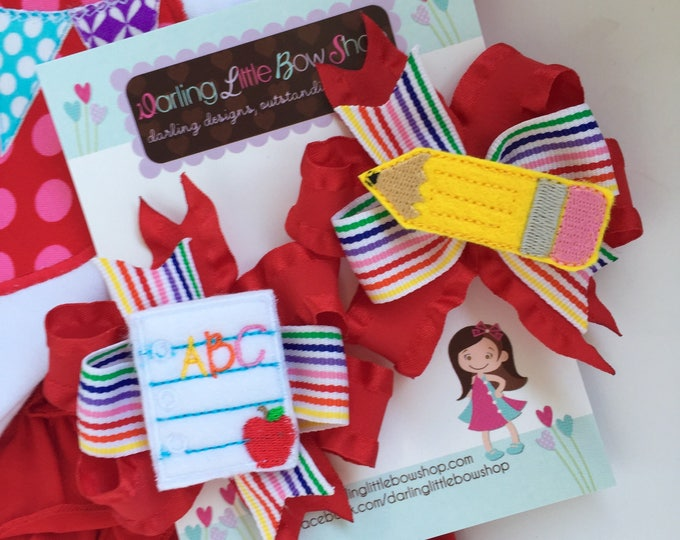 Back to School Pigtail Bows - Pencil N Paper - sweet piggies set with red ruffle and rainbow ribbons - perfect for kindergarten or preschool