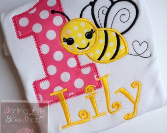 Baby Girl First Birthday shirt or bodysuit -- Sweet As Can BEE -- bodysuit or shirt in pink, yellow and black bumblebee theme