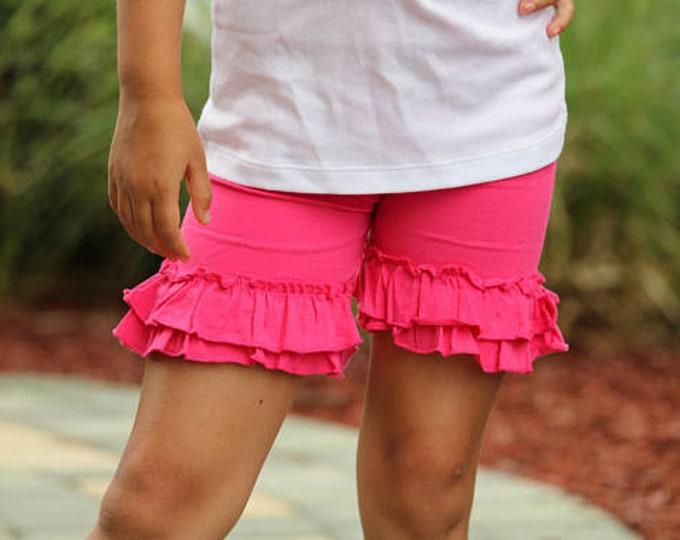 Hot Pink Ruffle Shorties, Hot Pink Ruffle Shorts - knit ruffle shorties sizes 6m to girls 10 - Free Shipping