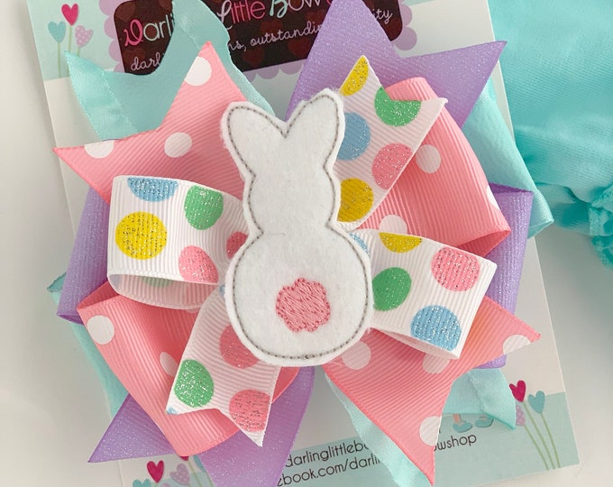 Easter Bunny Bow -- gray and white Easter Bow -- Sister Rabbit -- double stack ruffle bow with bunny center