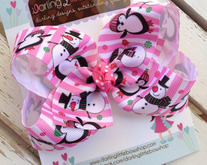 Pink Penguin and Snowman Bow -- Pink and green Christmas and Winter Bow