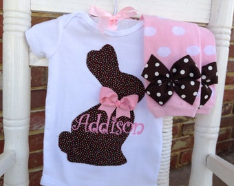 Baby Girl Outfit -- Chocolate Bunny Easter Outfit --  Personalized Bodysuit and Leg Warmers