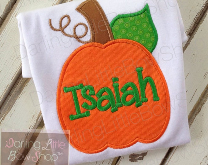 Boys pumpkin bodysuit or shirt -- Thanksgiving shirt or bodysuit  -- Corduroy Pumpkin -- orange corduroy and green pumpkin