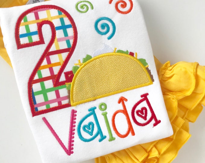 Taco TWOSday Birthday Shirt or bodysuit for girls, 2nd birthday shirt - fiesta theme birthday shirt in rainbow colors