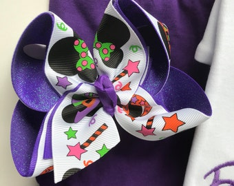 Witchy Minnie bow, Not So Scary Halloween hairbow