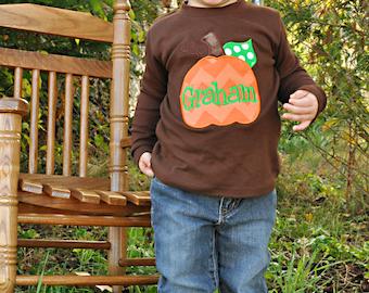 Boys pumpkin shirt -- Thanksgiving shirt -- Chevron Pumpkin -- brown shirt for boys-- pumpkin with name -- orange and green