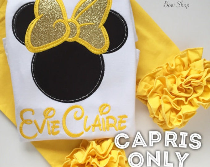 Yellow Ruffle Capris - knit ruffle capris sizes 6m to girls 8 - Free Shipping