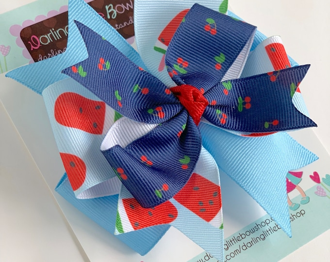 "Hairbow to match Matilda Jane Brilliant Daydream - Summer Social - 4"" layered bow"