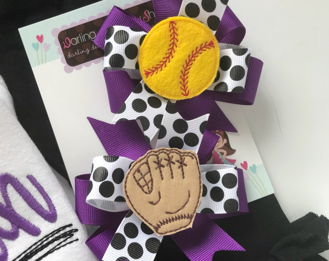 Softball Bows -- Softball Hairbow Set --  Pigtail Bow Set in your team colors