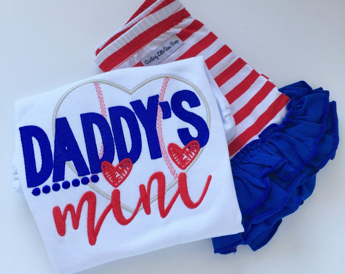 Daddy's Mini Shirt or bodysuit for girls, Father's Day shirt, Father's Day gift -- baseball Daddy's Mini design -- colors can be changed