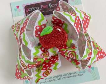 Apple Bow - Glitter apple hairbow - double bow with clay apple center