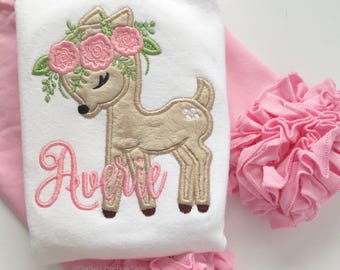 Deer shirt or bodysuit for girls - Sweet Baby Dear - Woodland fuzzy fawn personalized with name