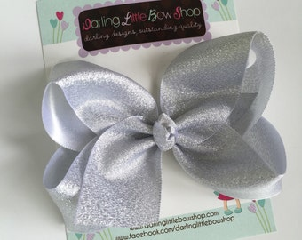 "Silver Bow -- Beautiful shimmering silver hairbow -- 4"" or 5"" bow"