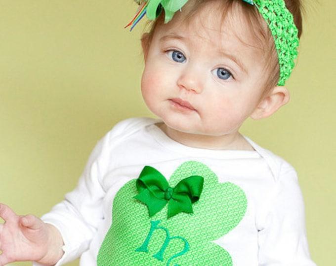 St. Patrick's Day Bodysuit --  Lucky Little Girl  -- Shamrock personalized Bodysuit