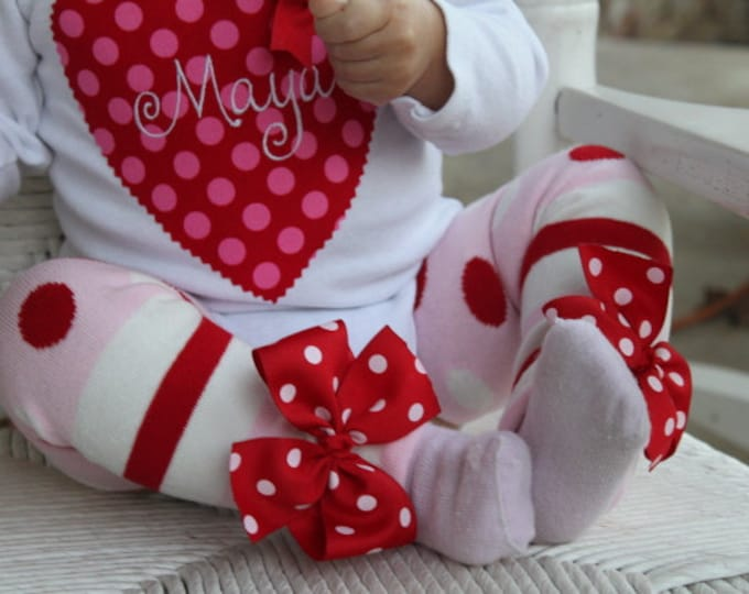 Valentine Bow Leg Warmers -Valentines Day- pink red and white striped and polka dot bows