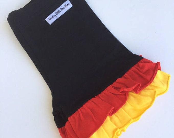 Classic Minnie red, yellow, black ruffle shorties