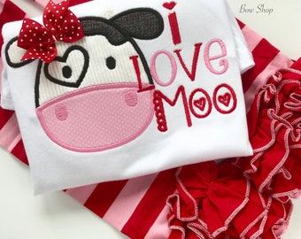 "Girls Valentine shirt or bodysuit, Cow Valentine shirt ""I love Moo"", fun cow valentine shirt in red and pink"