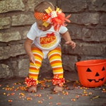 Baby Girl Halloween Outfit - Candy Corn Sweetie - bodysuit, leg warmers and Over The Top bow - yellow and orange chevron