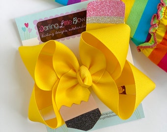 """Pencil HairBow - Choose 4-5"""" or 6"""" bow - perfect for kindergarten or preschool or back to school"""