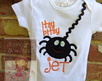 Halloween bodysuit or shirt for boys -- Itsy Bitsy Spider -- original design personalized with his name